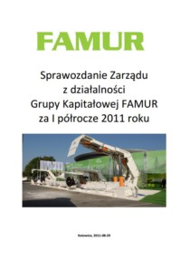 Consolidated semi-annual report of Grupa FAMUR SA for the 1st half of 2011